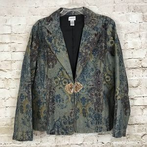 Chico's 2 Jacket Blue Denim Jean Floral Embroidery
